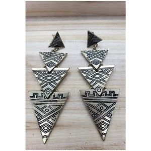 Gold Geometrical Tiered Triangle Earrings